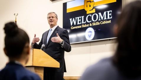 Gov. Charlie Baker Praises Career Tech Education Efforts at GLTS