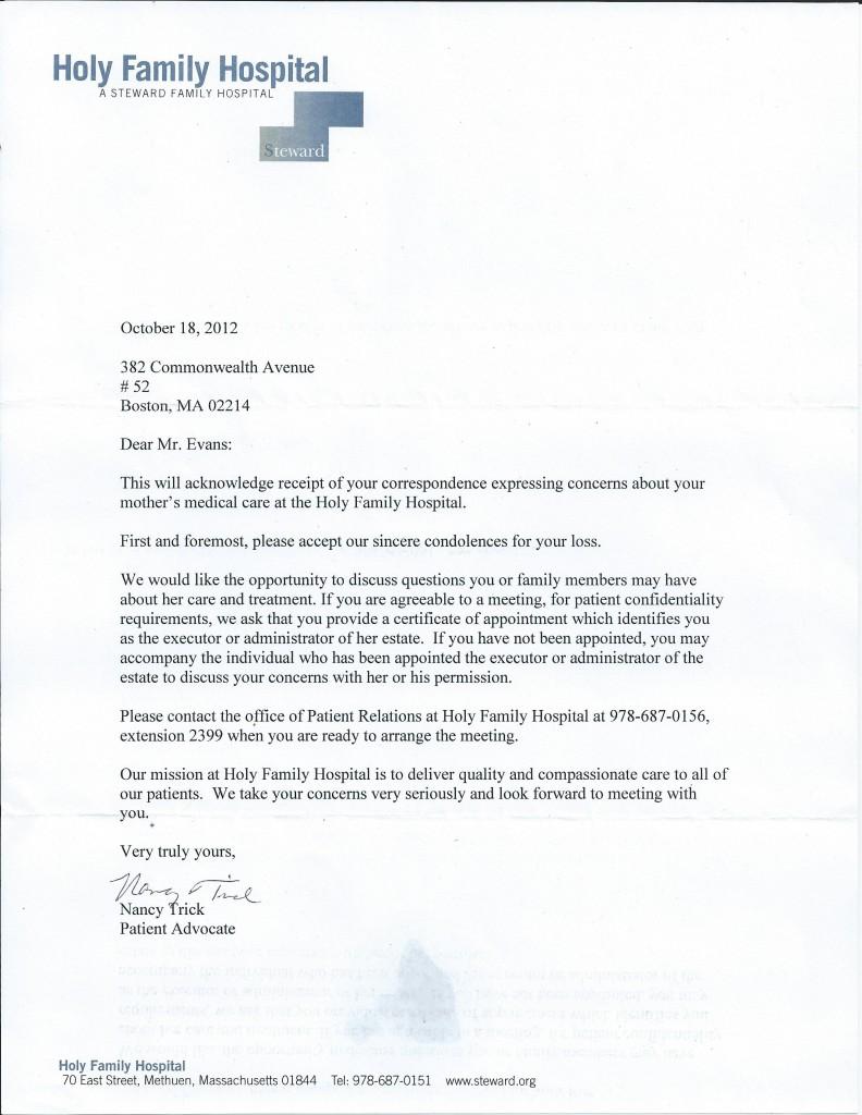 Holy Family Letter
