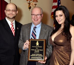 American Legion District Commander John Lenotte received the Valley Patriot Hero Award